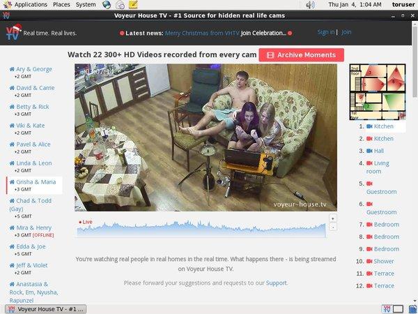 Free Working Voyeur House TV Account
